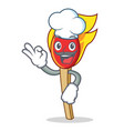 chef match stick character cartoon vector image