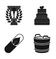 cup wedding cake and other web icon in black vector image