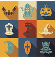 Halloween flat style icons set vector image