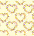 seamless pattern with hearts made of yellow roses vector image