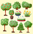 funny cartoon green garden park tree with fruits vector image vector image