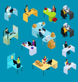 isometric support workers collection vector image