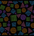 geometric shapes doodle seamless pattern hand vector image