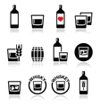 Whisky or Whiskey alcohol icons set vector image