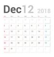 calendar planner december 2018 week starts sunday vector image