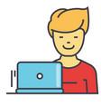 freelancer work at laptop programmer web vector image