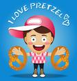 happy man carrying big pretzel on his arms vector image