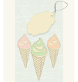 Ice cream cones with blank tag vector image