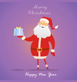 santa claus with gift on purple background happy vector image