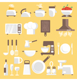 kitchen tools ware and utensils Flat style for web vector image