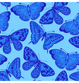 Beautiful seamless background blue butterfly vector image