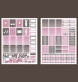 stickers for planner grey and pink colors vector image vector image
