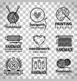 handmade workshop thin line logo set vector image