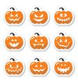 Halloween pumkin orange icons set vector image vector image