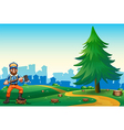 A hilltop with a hardworking woodman holding an vector image vector image