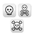 Cartoon skull with bones buttons set vector image