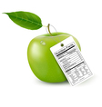 An apple with a nutrition facts label vector image vector image