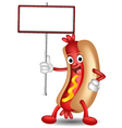 hot dog cartoon holding blank sign vector image