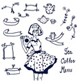 Coffee and tea icons - hand drawn graphics frames vector image