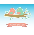 Cute easter card with two birds on the cherry tree vector image vector image