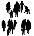 child with family silhouette vector image