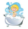 happy kid having bath vector image