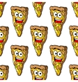 Seamless pattern of mushroom pizza slices vector image
