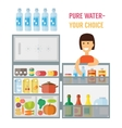 Woman near refrigerator Flat design vector image