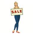 woman with a poster sale vector image