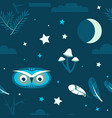 night forest owl seamless vector image