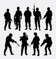 Soldier military with weapon pose silhouette vector image