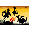 Silhouette dragon blowing fire vector image