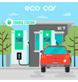 Electric Car Eco Car on Charging Station vector image
