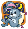 Bunny on a bed on a white background vector image