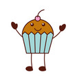cartoon cupcake sweet character icon vector image