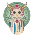 Colorful skull with horns and feathers Sacred vector image