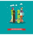 snowboarders in flat style vector image