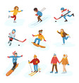 winter sport activity people games cartoon vector image