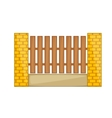 Wooden fence with brick pillars icon cartoon style vector image