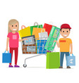 big shopping day of happy couple cartoon people vector image