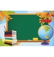 school autumn background with blackboard globe vector image