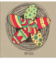 Group of Easter eggs in nest vector image