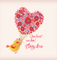 Bright flowers in shape of heart and bird vector image