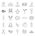 barbershop icons set outline style vector image