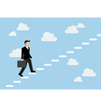 Businessman stepping up a staircase and sky vector image