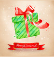christmas postcad with green color gift box vector image
