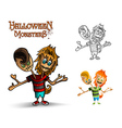Halloween monsters spooky two heads zombie EPS10 vector image