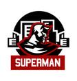 logo superman superhero costume cape town vector image