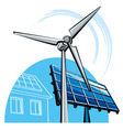 windmill and solar panel vector image