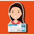 woman ticket travel icon vector image
